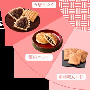 【おすすめ商品】五層もなか・姫路ロマン・姫路城瓦煎餅